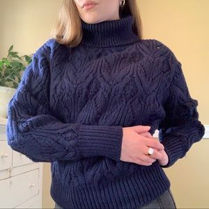 Aritzia merino navy blue cable knit turtle neck